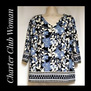 Charter Club Woman Blue Floral Top Size 1X